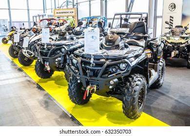 Poznan, Poland, April 06-09, 2017: MOTOR SHOW, International Car Fair: BRP Can-am Outlander 1000R XT-P MAX T3 ATV shiny modern 4x4 quad