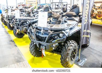 Poznan, Poland, April 06-09, 2017: MOTOR SHOW, International Car Fair: BRP Can-am Outlander 1000 Ltd ATV shiny modern 4x4 quad