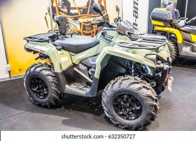 Poznan, Poland, April 06-09, 2017: MOTOR SHOW, International Car Fair: BRP Can-am Outlander 570 V-Twin EFI ATV shiny modern 4x4 quad