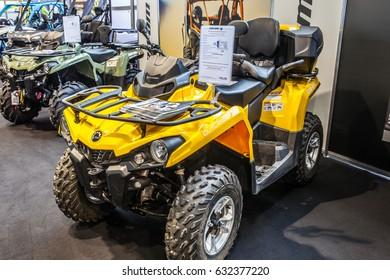 Poznan, Poland, April 06-09, 2017: MOTOR SHOW, International Car Fair: BRP Can-am Outlander 570MAX DPS ATV shiny modern 4x4 quad