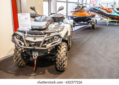 Poznan, Poland, April 06-09, 2017: MOTOR SHOW, International Car Fair: BRP Can-am Outlander 6x6 1000XT Ltd ATV shiny modern quad