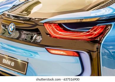 Poznan, Poland, April 06-09, 2017: MOTOR SHOW, International Car Fair: shiny modern electric eco friendly BMW i8