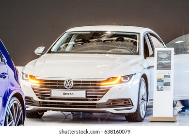 Poznan, Poland, April 06-09, 2017: MOTOR SHOW, International Car Fair: Volkswagen VW Arteon - shiny modern auto