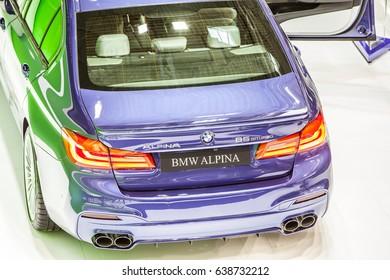 Poznan, Poland, April 06-09, 2017: MOTOR SHOW, International Car Fair: BMW Alpina B5 BiTurbo shiny modern sportcar