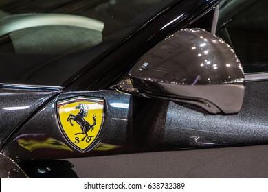 Poznan, Poland, April 06-09, 2017: MOTOR SHOW, International Car Fair: Ferrari LaFerrari Aperta - shiny modern superauto