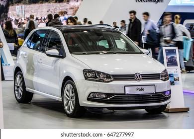 Poznan, Poland, April 06-09, 2017: MOTOR SHOW, International Car Fair: shiny modern auto Volkswagen VW Polo