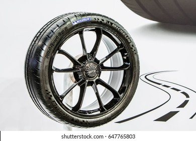Poznan, Poland, April 06-09, 2017: MOTOR SHOW, International Car Fair: Porsche GT3 Aluminum rim with tubeless tire Michelin Pilot Super Sport
