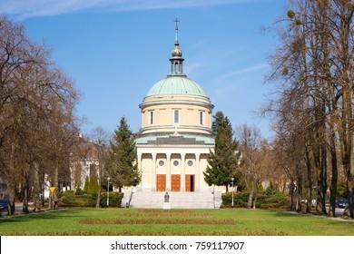 Poznan, Poland - April 1, 2017: View on church of St. John Vianney on blue sky background in polish city Poznan in Solacki park