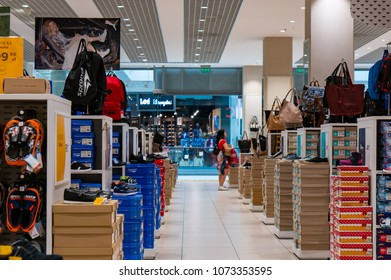 Poznan, Poland - April 20, 2018: Interior with shoe boxes and backpacks of a CCC shoe store