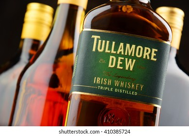 POZNAN, POLAND - APRIL 23, 2016: Tullamore Dew is a brand of blended Irish whiskey produced by William Grant & Sons.