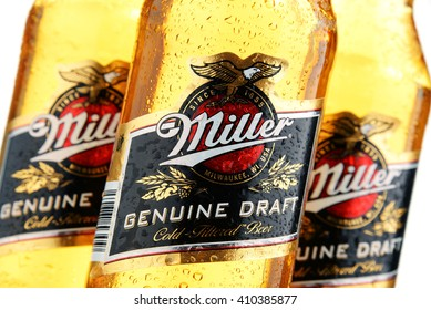 POZNAN, POLAND - APRIL 23, 2016: Miller Genuine Draft is the original cold filtered packaged draft beer, a product of the Miller Brewing Company owned by SABMiller