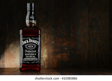 POZNAN, POLAND - APRIL 23, 2016: Jack Daniel's, a brand of the best selling American whiskey in the world,  produced by the Jack Daniel Distillery and owned by the Brown-Forman Corporation since 1956