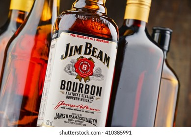 POZNAN, POLAND - APRIL 23, 2016: Jim Beam is one of best selling brands of bourbon in the world, produced by Beam Inc. in Clermont, Kentucky.