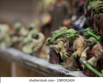 Poznan, Poland - April 27, 2019: Master Yoda figurines. Toys from Star Wars films on display.