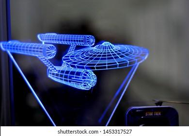 Poznan, Poland - April 27, 2019:  USS Enterprise light model from Star Trek series.