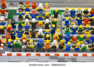Poznan, Poland - April 28, 2018: Lego audience figures watching a competition