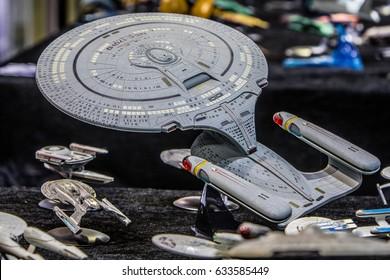 Poznan, Poland, April 29, 2017 Pyrkon - Fantasy Convent - Star Trek USS Enterprise, model hobby product