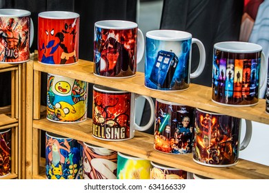 Poznan, Poland, April 29, 2017 Pyrkon - Fantasy Convention - movie gadget, Cups, themes Star Wars, Deadpool, Hellsing, Marvel Films
