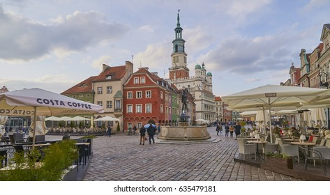 POZNAN, POLAND - APRIL 29, 2017: Old town square on 29 April 2017 in Poznan, Poland. Poznan is the former capital of Poland - a city with many old monuments