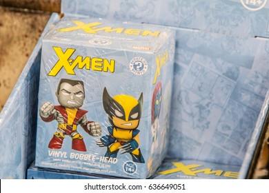 Poznan, Poland, April 29, 2017 Pyrkon - Fantasy Convent - Marvel X-Men Vinyl Bobble-Head Figure Mystery Minis