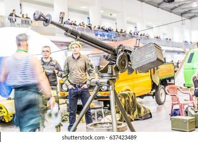 Poznan, Poland, April 29, 2017 Pyrkon - Fantasy Convent - Big machine gun
