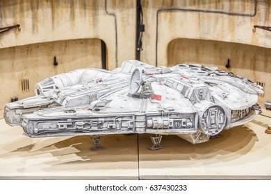 Poznan, Poland, April 29, 2017 Pyrkon - Fantasy Convent - Star Wars Falcon Millenium, model hobby product