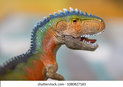Poznan, Poland - April 30, 2018: Giganotosaurus with open mouth and sharp teeth creating terror in soft focus