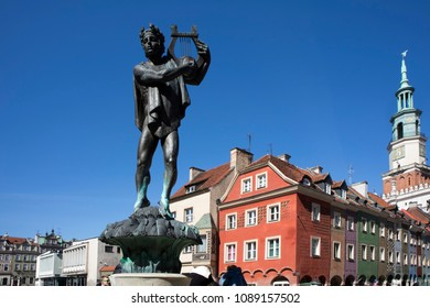 Poznan, Poland, April 30, 2018: Old Market sqaure. Orpheus statue and Town Hall
