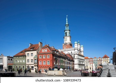Poznan, Poland, April 30, 2018: Old Market sqaure in Poznan. Poland. Row of colorful old houses in the historical town square