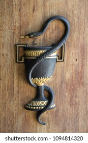 Poznan, Poland, April 30, 2018: Snake on the background of a bowl on the door of a pharmacy in the old town