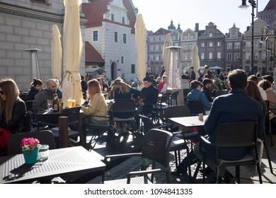 Poznan, Poland, April 30, 2018: People on the street