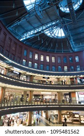 Poznan, Poland, April 30, 2018: Shops and stores. Stary browar shopping mall center in a city, vintage interior style.