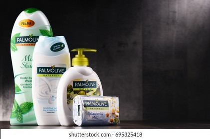 POZNAN, POLAND - AUG 10, 2017: Palmolive is the trademark of a line of products produced by American company Colgate-Palmolive. It was introduced in 1898 and is sold globaly.