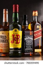 POZNAN, POLAND - AUG 18, 2017: Whiskey is the most popular liquor in the world. Originated probably in Ireland, now it is produced on grand scale also in India, Scotland, USA, Canada and Japan