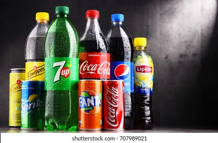 POZNAN, POLAND - AUG 18, 2017: Global soft drink market is dominated by brands of few multinational companies founded in North America. Among them are Pepsico, Coca Cola and Dr. Pepper Snapple Group
