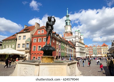 POZNAN, POLAND - AUG 20, 2014: Orpheus statue on the colorful main square in Poznan.