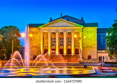 POZNAN, POLAND - AUG 22, 2018: Grand Theatre, neoclassical opera house, Poznan, Poland after sunset