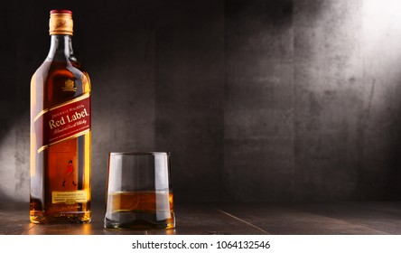 POZNAN, POLAND - AUG 24, 2017: Johnnie Walker is the most widely distributed brand of blended Scotch whisky in the world with sales of over 130 million bottles a year.