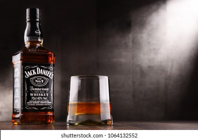 POZNAN, POLAND - AUG 24, 2017: Jack Daniel's, a brand of the best selling American whiskey in the world,  produced by the Jack Daniel Distillery and owned by the Brown-Forman Corporation since 1956