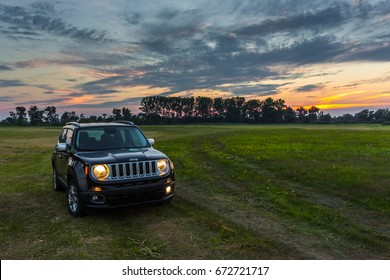 POZNAN, POLAND - August 28, 2016:  Jeep Renegade on the meadows in the Warta Landscape Park.