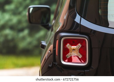 POZNAN, POLAND - August 28, 2016:  Back lights of Jeep Renegade.