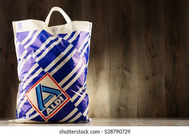POZNAN, POLAND - DEC 1, 2016: Aldi is a German discount supermarket chain with over 10,000 stores in 18 countries. It was established in Essen by brothers Karl and Theo Albrecht in 1946