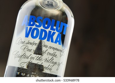 POZNAN, POLAND - DEC 12, 2016: Absolut Vodka is a brand of vodka, produced near Ahus, in Sweden. Owned by French group Pernod Ricard it is one of the largest brand of alcoholic spirits in the world.