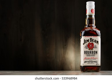 POZNAN, POLAND - DEC 2, 2016: Jim Beam is one of best selling brands of bourbon in the world, produced by Beam Inc. in Clermont, Kentucky.