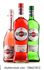 POZNAN, POLAND - DEC 21, 2017: Products of Martini, famous Italian vermouth is the world's fourth most powerful alcoholic brand produced in Turin by Martini and Rossi since 1863