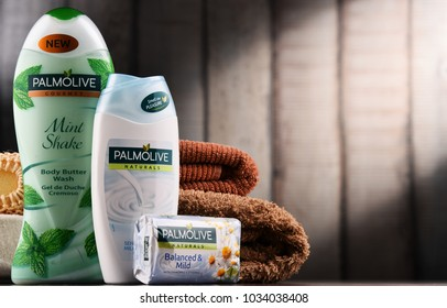 POZNAN, POLAND - DEC 7, 2017: Products of Palmolive, cosmetics trademark manufactured by American company Colgate-Palmolive. It was introduced in 1898 and is sold globaly.