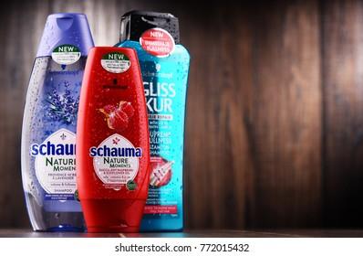 POZNAN, POLAND - DEC 7, 2017: Bottles of Schwarzkopf products, popular brand of first liquid shampoo developed by German chemist Hans Schwarzkopf in 1927.