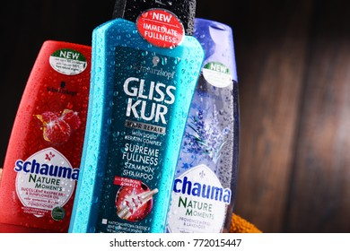 POZNAN, POLAND - DEC 7, 2017: Bottles of Schwarzkopf products, popular brand of first liquid shampoo developed by German chemist Hans Schwarzkopf in 1927.