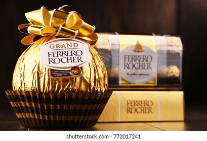POZNAN, POLAND - DEC 7, 2017: Ferrero Rocher premium chocolate sweets produced by the Italian chocolatier Ferrero SpA., sold in over 40 countries in amount of about 3.6 billion a year