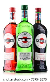 POZNAN, POLAND - DEC 7, 2017: Products of Martini, famous Italian vermouth is the world's fourth most powerful alcoholic brand produced in Turin by Martini and Rossi since 1863